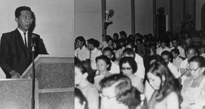 Pdt. Paul Tjandranugito berkhotbah pada HUT ke-5 Komisi Pemuda tanggal 2 Agustus 1969